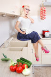Cheerful Housewife Royalty Free Stock Photos