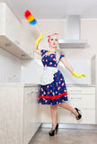 Cheerful housewife Stock Image