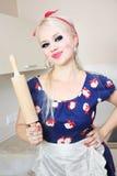 Cheerful housewife Stock Photo