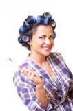 Cheerful housewife Stock Photos