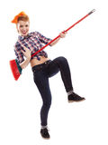 Cheerful housewife playing the broom Royalty Free Stock Photos