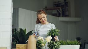 Cheerful housewife is watering green plants using sprayer holding flowerpots and smiling standing in beautiful light. Apartment. Housework, people and botany stock footage