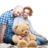Cheerful hugging couple Royalty Free Stock Images