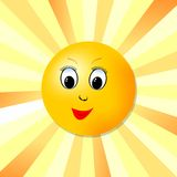 Cheerful image of the sun with face for the joy of life Stock Images