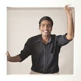 Cheerful indian man in black shirt Royalty Free Stock Photo