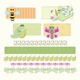 Cheerful insects. Bee, caterpillar, butterfly and snail with floral design royalty free illustration