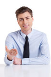 Cheerful interviewer. Royalty Free Stock Photos