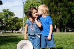 Cheerful, joyful children in park stock images