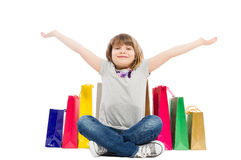 Cheerful and joyful shopping kid Stock Photos