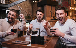 Cheerful jubilant friends watching a football match. Celebrating victory. Cheerful jubilant nice friends holding glasses with beer and celebrating the victory of Stock Photo