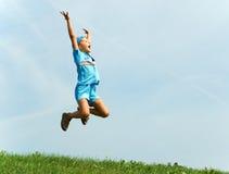 Cheerful jump Stock Photo