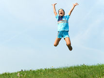 Cheerful jump Royalty Free Stock Image