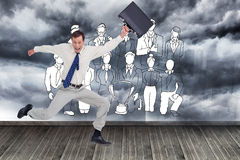 Cheerful jumping businessman with his suitcase Stock Image
