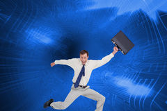 Cheerful jumping businessman with his suitcase Royalty Free Stock Photos