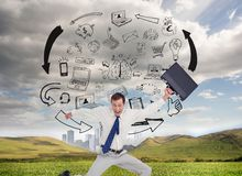 Cheerful jumping businessman with his suitcase Royalty Free Stock Images