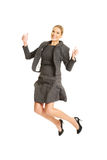 Cheerful jumping businesswoman Royalty Free Stock Photos