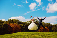 Cheerful jumping married couple on field Royalty Free Stock Image