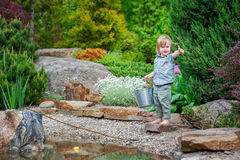 Cheerful kid angling Royalty Free Stock Image