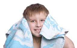 Cheerful kid after bath Stock Photos