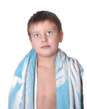 Cheerful kid in bath towel Royalty Free Stock Image