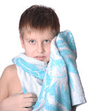 Cheerful kid in bath towel Royalty Free Stock Photography