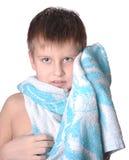 Cheerful kid in bath towel Royalty Free Stock Photography