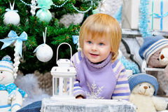 Cheerful kid and Christmas mood Royalty Free Stock Images
