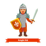Cheerful kid in knights armour with helmet. Chest plate, shield and sword. Flat vector illustration  on white background Stock Image