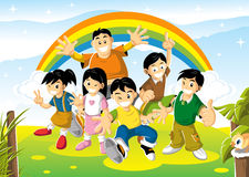 Cheerful kids on bright day Royalty Free Stock Images