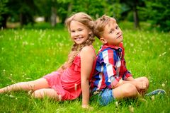 Cheerful kids in nature stock photography