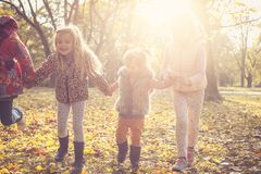 Happy kids at park together. royalty free stock images