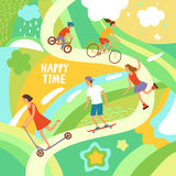 Cheerful kids riding and playing outdoor Stock Photography