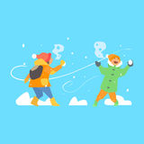 Cheerful Kids Throwing Snowballs. Vector Royalty Free Stock Photos
