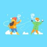 Cheerful Kids Throwing Snowballs. Vector Royalty Free Stock Photos