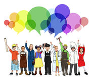 Cheerful Kids and Various Occupations Concepts Royalty Free Stock Image