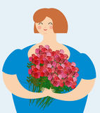 Cheerful kind woman with bouquet of roses. Exciting fat girl wit Stock Photography