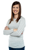Cheerful lady in casual wear striking a pose Royalty Free Stock Images