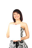 Cheerful lady holding blank. White paper closeup isolated on white background Royalty Free Stock Photos