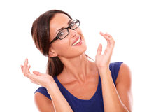 Cheerful lady in purple dress wearing glasses Stock Photos