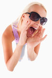 Cheerful lady with sunglasses Stock Images