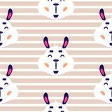 Cheerful lama baby vector beige striped seamless repeat pattern. Royalty Free Illustration