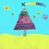 Cheerful landscape with Christmas tree and stars, greeting card Royalty Free Stock Image