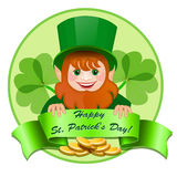 Cheerful leprechaun with  money. Royalty Free Stock Images