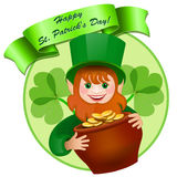 Cheerful leprechaun with a pot of money. Stock Images