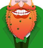 Cheerful leprechaun with red beard. Good gnome with big smile. Royalty Free Stock Photography