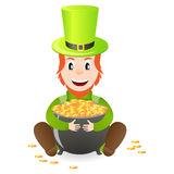 Cheerful leprechaun with treasure Royalty Free Stock Photography