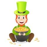 Cheerful leprechaun with treasure Royalty Free Stock Photography