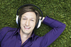 Cheerful listening man Royalty Free Stock Image
