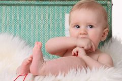 Cheerful little baby boy Stock Images