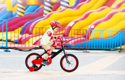 Cheerful little boy on the bicycle Royalty Free Stock Image